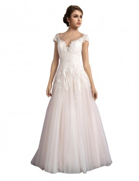 A-Line Illusion Tulle Long Cathedral Train Ivory & Champagne Mariana Wedding Dress Canberra
