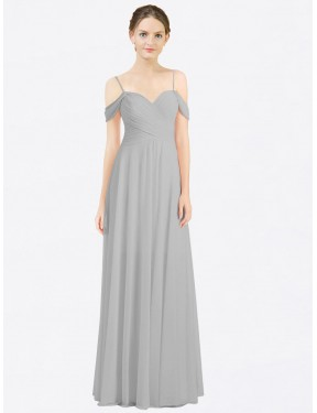 A-Line Sweetheart Spaghetti Straps Off the Shoulder Chiffon Long Floor Length Silver Breanna Bridesmaid Dress Canberra