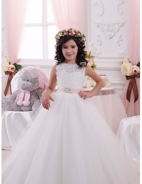 Ball Gown Bateau Lace & Tulle Long Chapel Train Ivory Flower Girl Dress Canberra