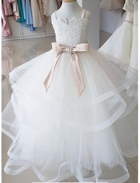 Ball Gown High Neck Lace & Tulle Long Floor Length Ivory Flower Girl Dress Canberra