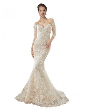 Mermaid Off the Shoulder Lace & Tulle Long Chapel Train Ivory & Champagne Blake Wedding Dress Canberra